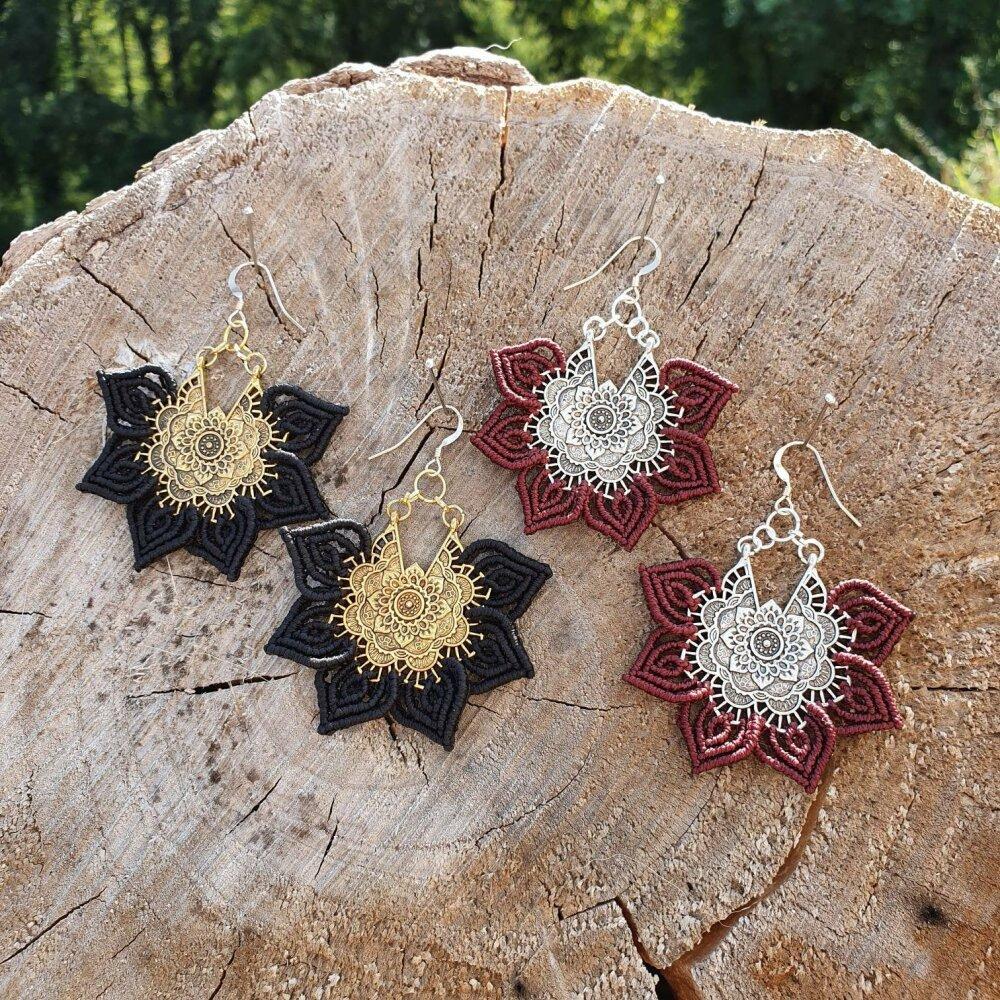 Boucles d'oreilles Micro-macramé Lotus - Bohème boho chic gypsy tribal ethnique psytrance festival