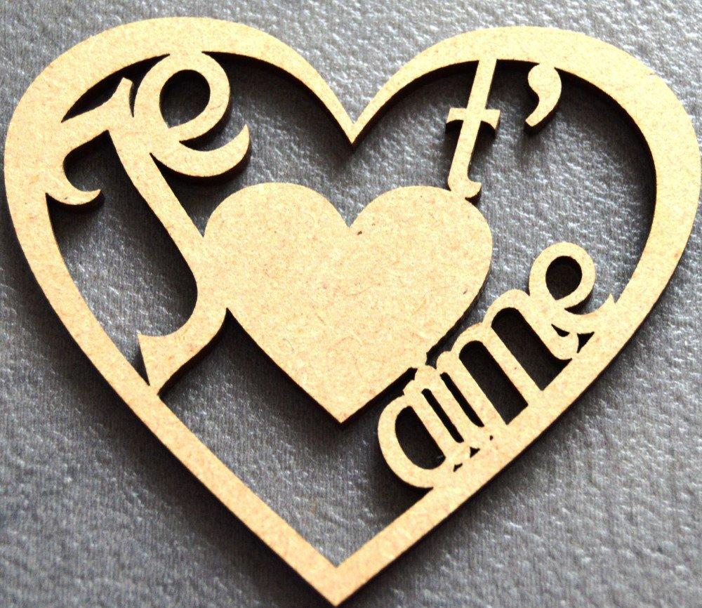 """coeur """" je t'aime """" en médium à décorer N 2"""
