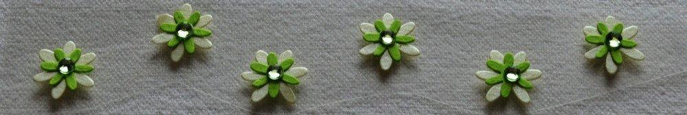 6 stickers fleurs vert