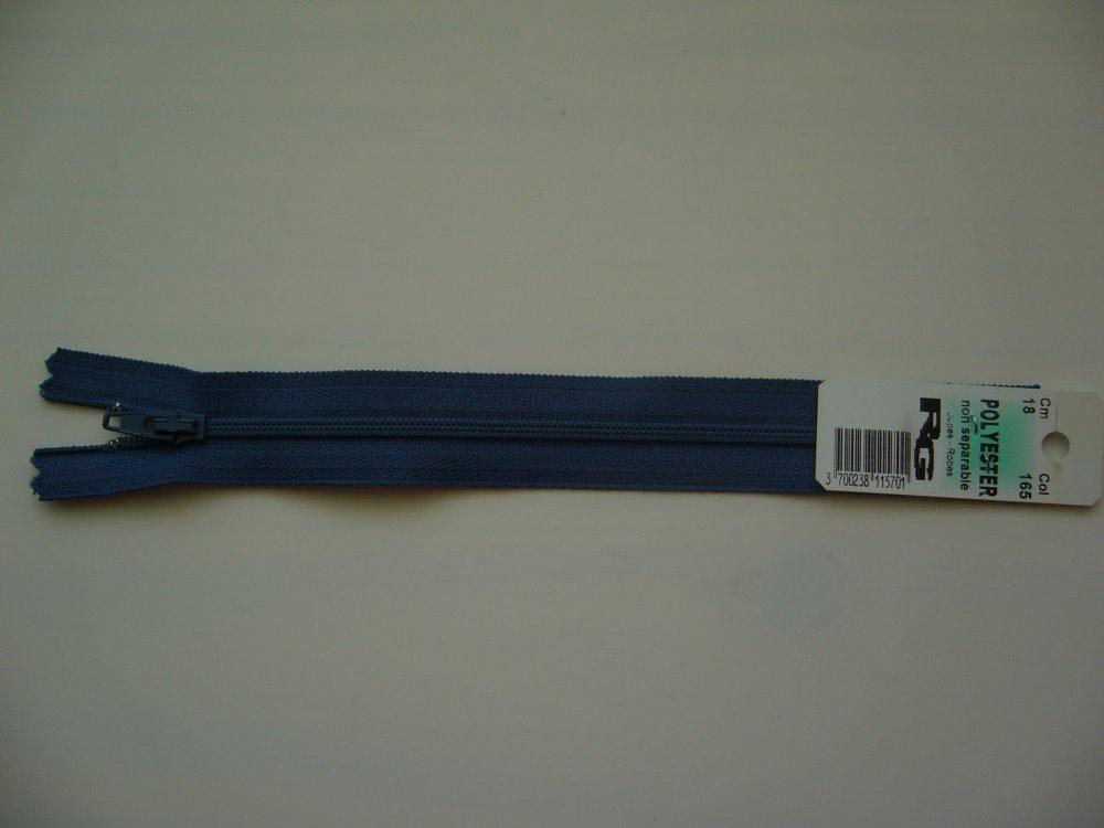 fermeture éclair bleu  18 cm