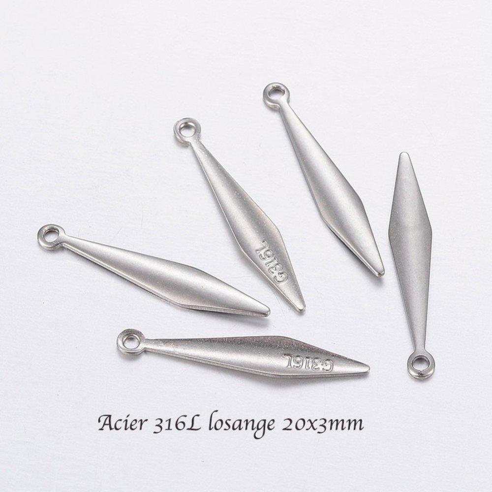 8 pendentifs sequin  acier inoxydable 316L  losange 20x3x1mm