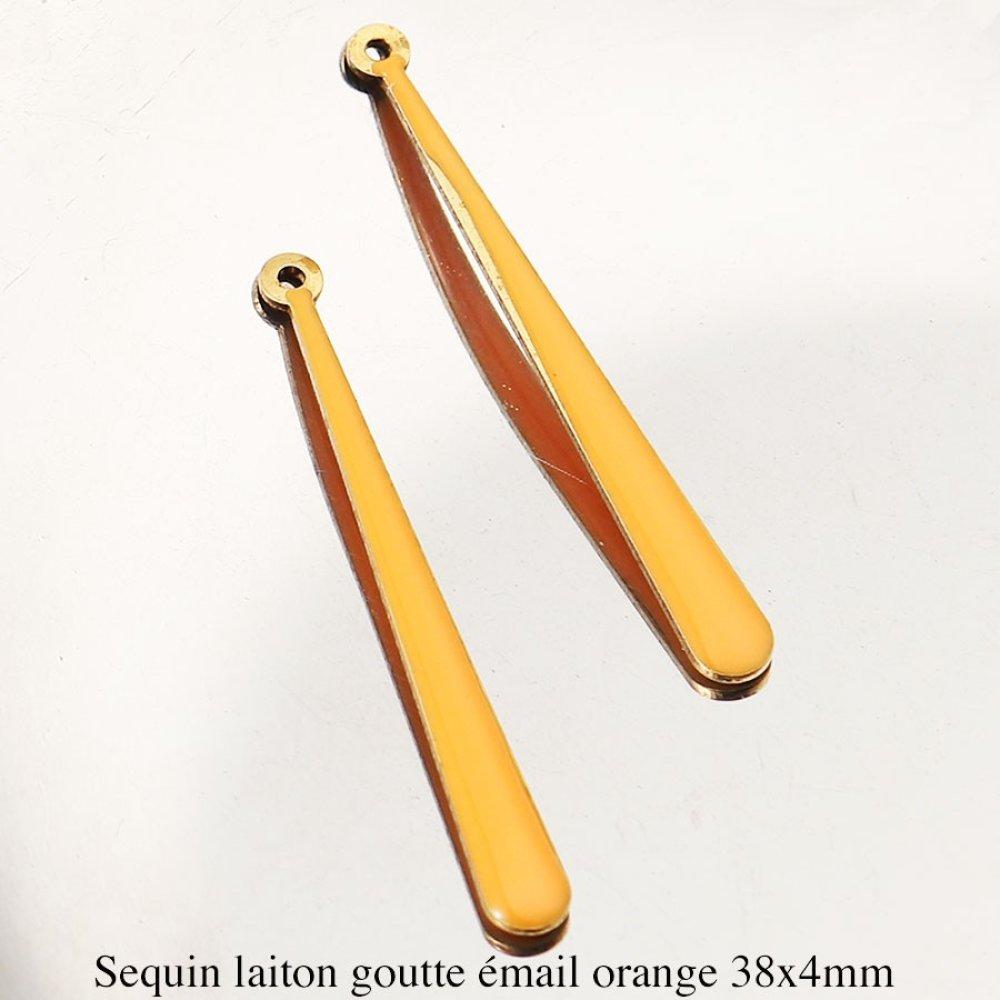 2Pendentifs sequin laiton longue goutte émail orange 38x4mm