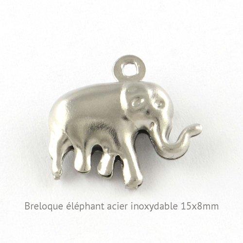 10 breloques acier inoxydable éléphant relief 15x8mm