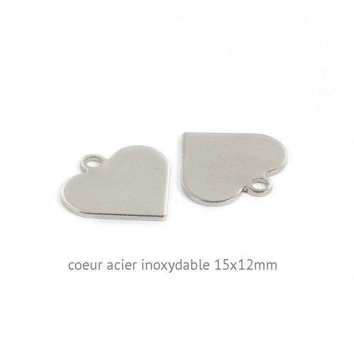 10 breloques  coeur acier inoxydable 15x12mm