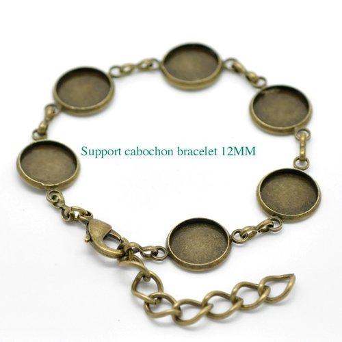 1 bracelet support cabochon bronze 12mm +cabochon