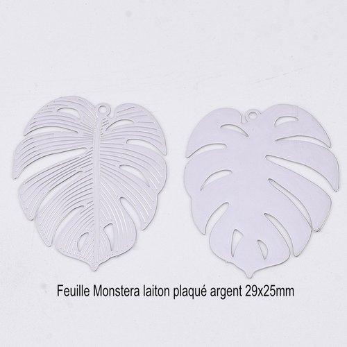 4 breloques pendentif feuille monstera laiton plaqué argent 29x25mm