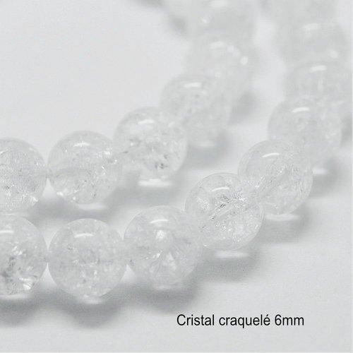 10 perles rondes cristal véritable craquelé 6mm