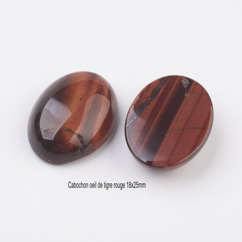 1 cabochon pierre naturelle oeil de tigre rouge 18x25mm