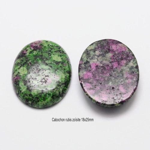 1 cabochon pierre gemme rubis zoisite 18x25mm