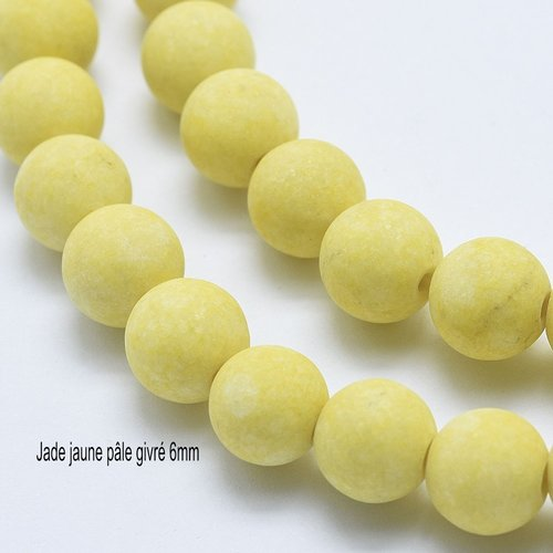 10 perles jade jaune pâle  givrée ronde 6mm