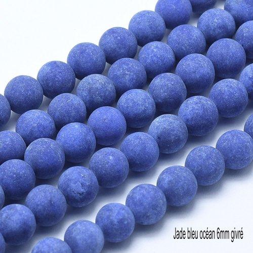 10 perles jade bleu océan  givrée ronde 6mm