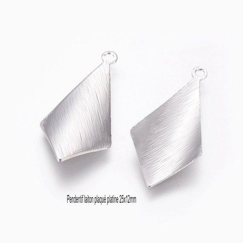 6 pendentifs losange laiton plaqué  platine texturé 25x12mm