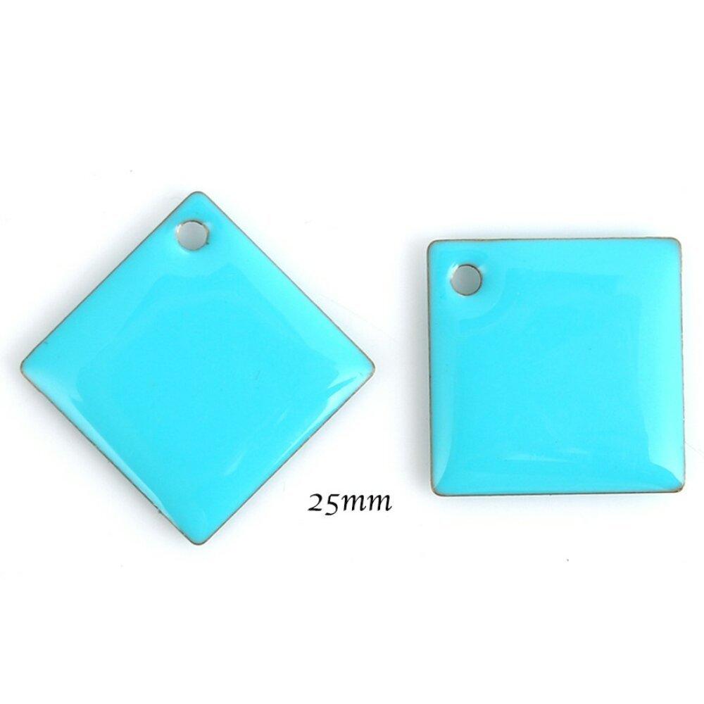 sequin émail bleu turquoise x2 carré 25mm
