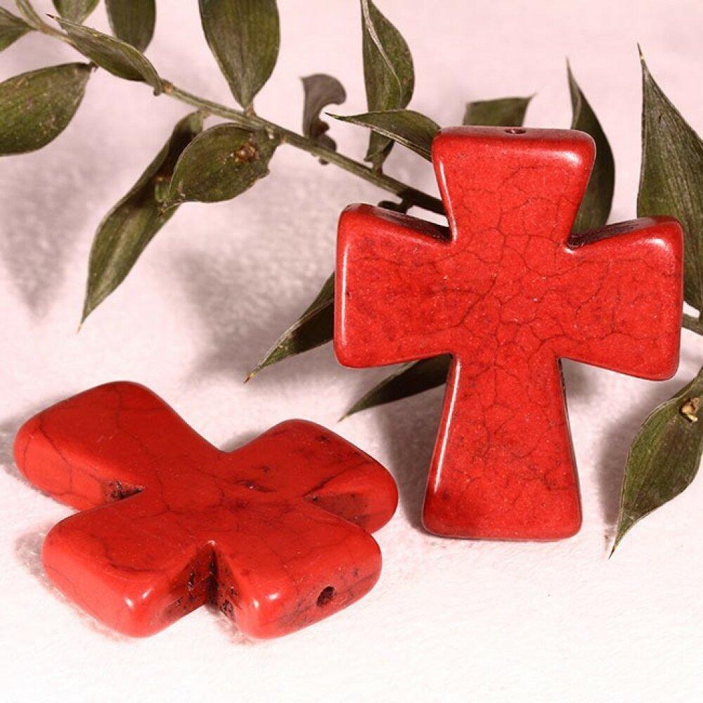 2 breloques croix  celtique howlite rouge  37x30mm