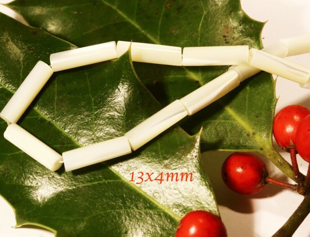 10 perles tubes en nacre naturelles reflet irisées 13x4mm