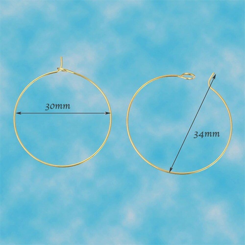 x 10 créoles laiton couleur doré diamètre 34x30mm