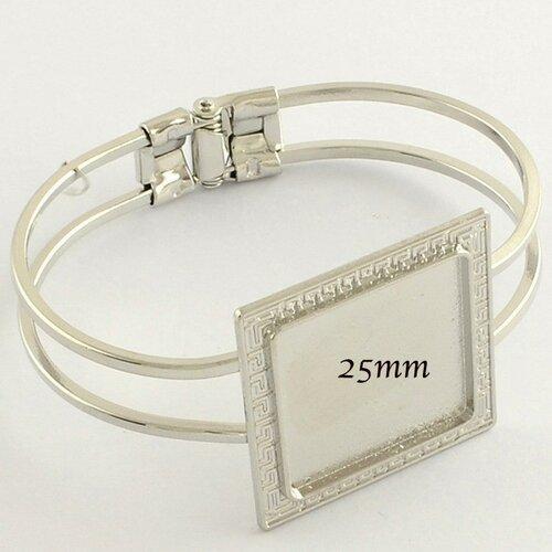 1 support bracelet cabochon carré argent vif +cabochon verre 25mm