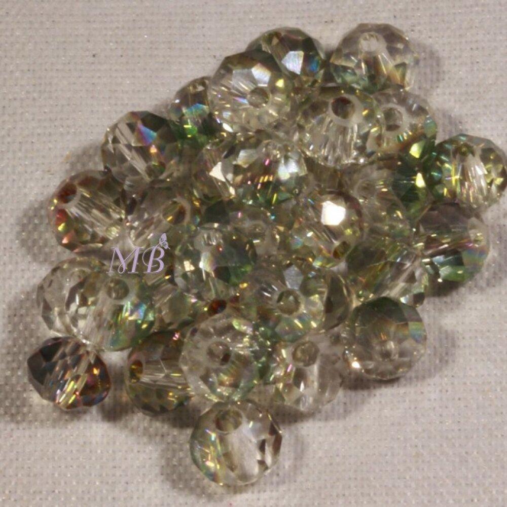 lot de 50 perles boulier en verre facettée vert prisme rose/doré  4x3mm