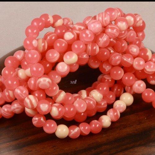 20 perles de  jaspe enrubannée  rose et blanc diamètre 4mm
