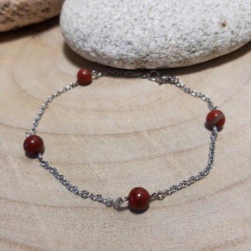 Bracelet de cheville pierres naturelles, jaspe rouge, protecteur suprême