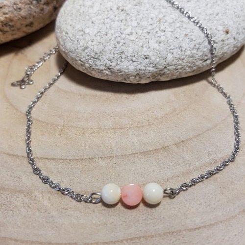 Bracelet corail rose et nacre