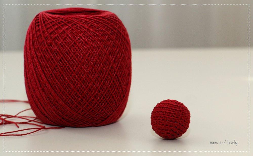 Perle au crochet en 100% coton couleur ML237 rouge de noël, 22 mm