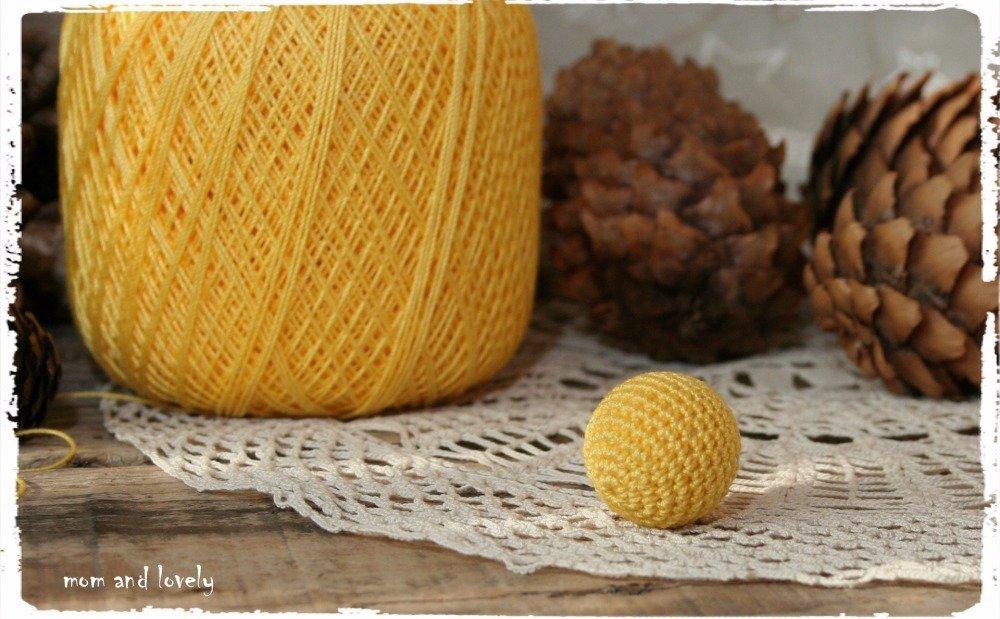 Perle au crochet en 100% coton couleur ML121 jaune soleil, 22 mm