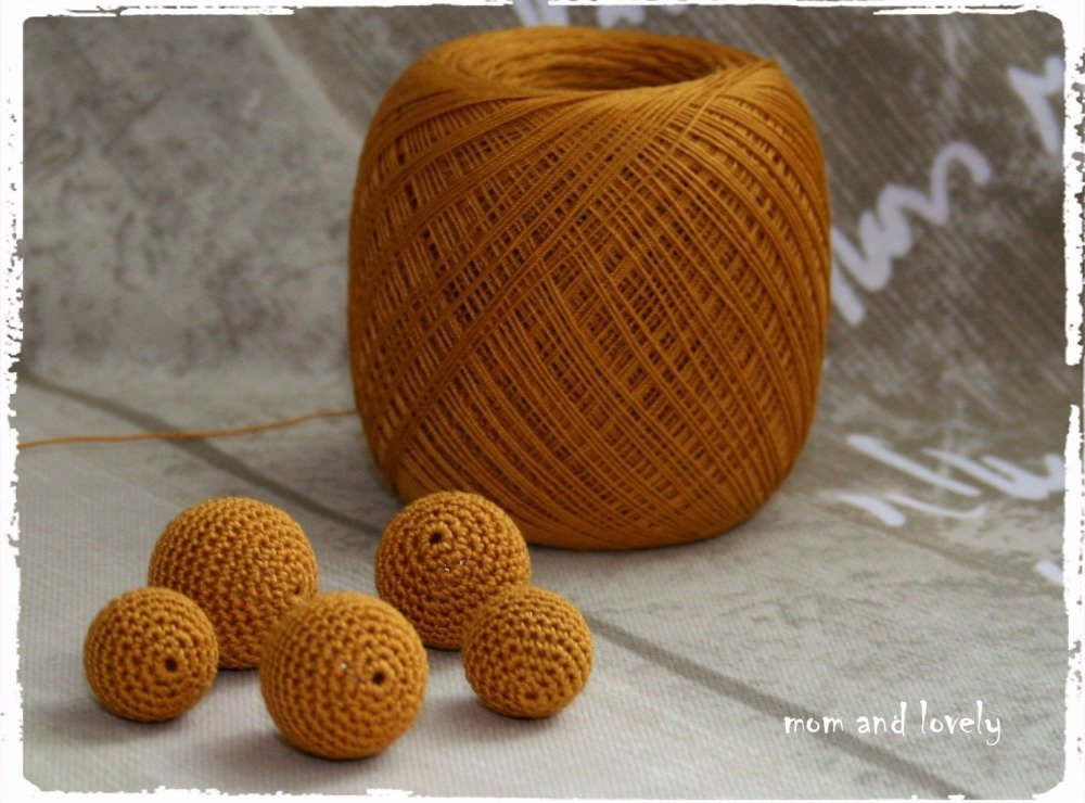 Perle au crochet en 100% coton couleur ML139 moutarde, 22 mm