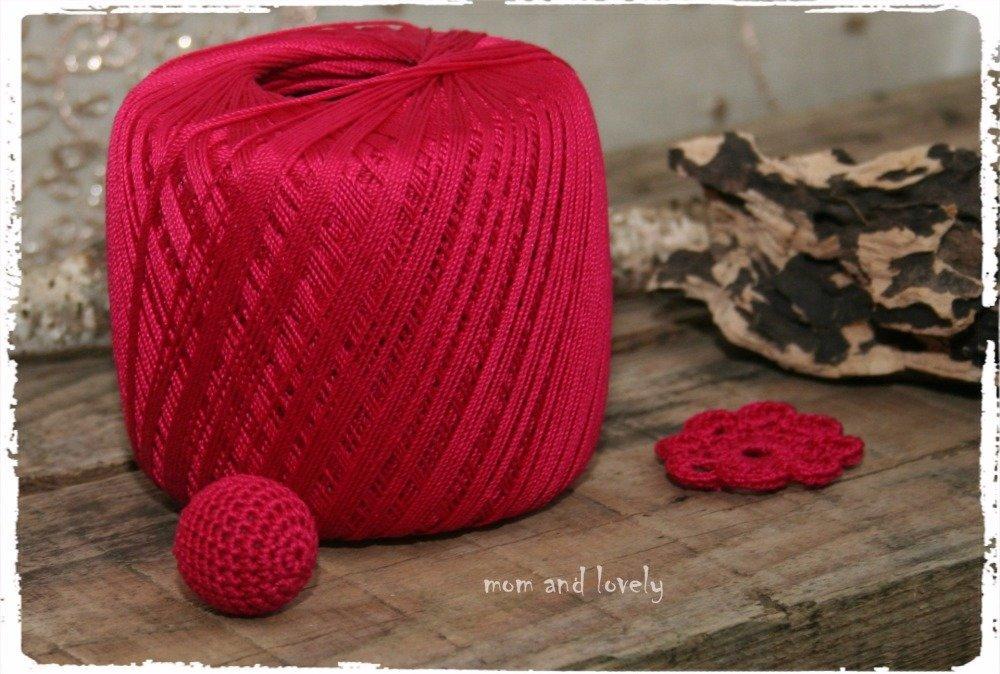 Perle au crochet en 100% coton couleur ML141 fuchsia, 18 mm