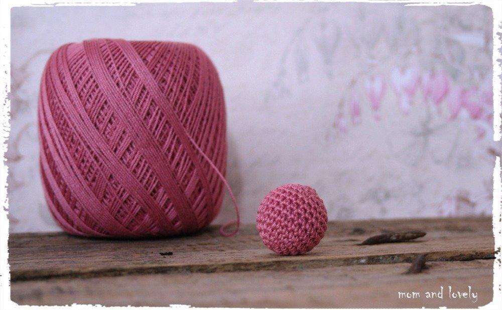 Perle au crochet en 100% coton couleur ML161 rose foncé, 22 mm
