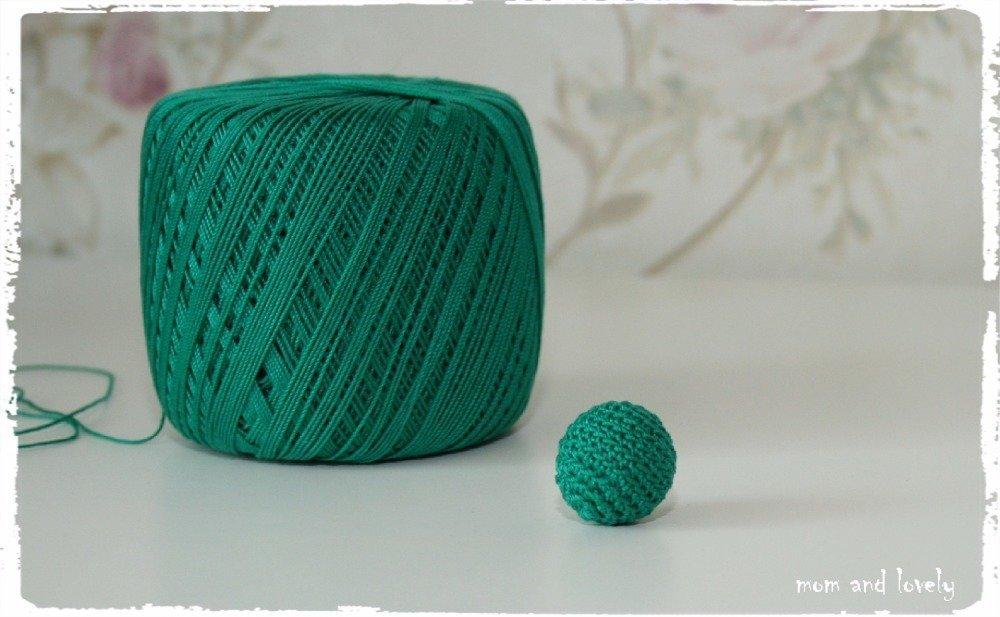Perle au crochet en 100% coton couleur ML202 vert foncé, 22 mm