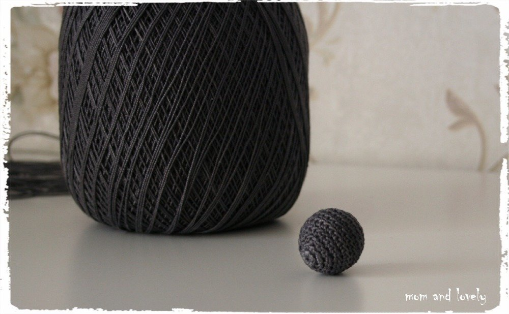 Perle au crochet en 100% coton couleur ML225 gris foncé, 18 mm