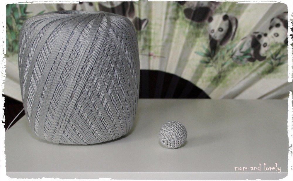Perle au crochet en 100% coton couleur ML228 gris clair, 20 mm