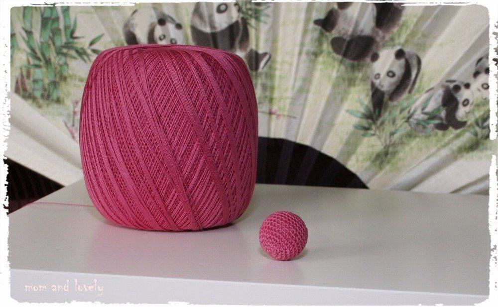 Perle au crochet en 100% coton couleur ML229 rose fonce, 22 mm