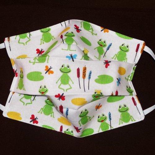 Masque de protection en tissu lavable et réutilisable réversible pour enfant - froggy - masque aux normes afnor