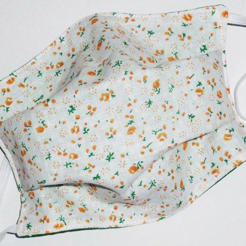 Masque de protection en tissu lavable réutilisable et réversible ados/adultes  - orange liberty - masque alternatif
