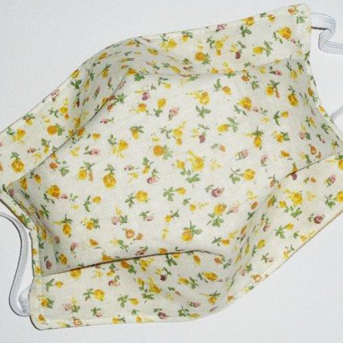 Masque de protection en tissu lavable réutilisable et réversible ados/adultes  - yellow liberty - masque alternatif