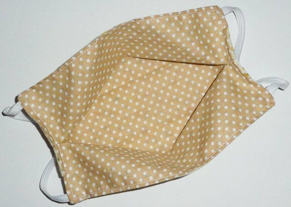 Masque de protection en tissu lavable réutilisable et réversible ados/adultes  - YELLOW LIBERTY - masque aux normes AFNOR