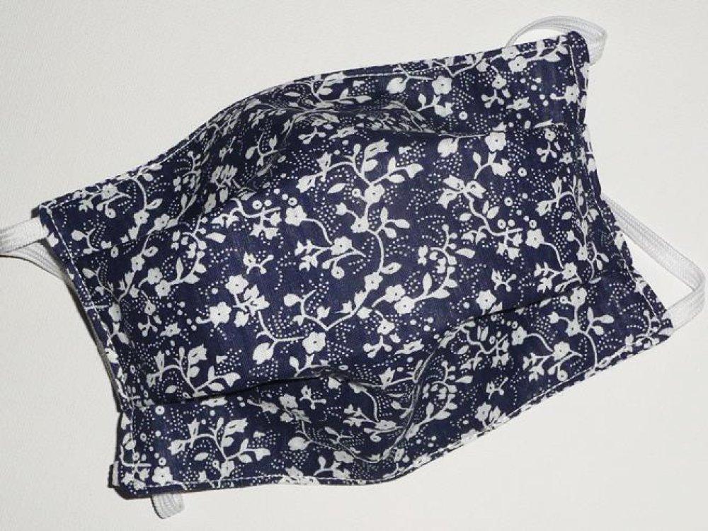 Masque de protection en tissu lavable réutilisable et réversible ados/adultes  - MARINE LIBERTY - masque aux normes AFNOR