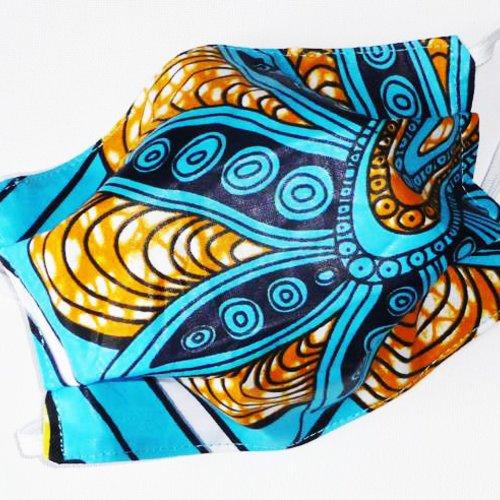 Masque de protection en tissu lavable réutilisable et réversible ados/adultes - wax - masque aux normes afnor