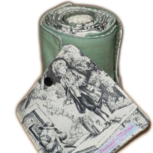 Gros rouleau papier toilette lavable toile de jouy (16 feuilles) - papier hygiénique lavable - lingettes - zéro déchet