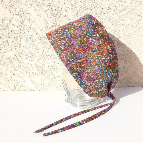 Calot de bloc, chapeau de bloc, coton motif pointillé multicolore