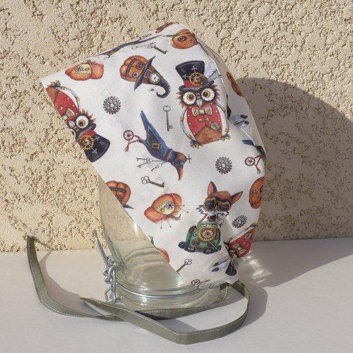"""Calot chirurgical, chapeau de bloc en tissu coton motif """"halloween"""" style steampunk"""