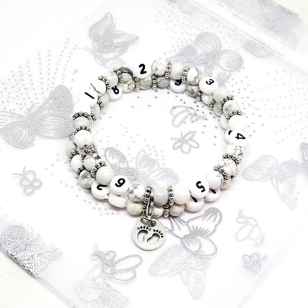 Bracelet d'allaitement perles howlite blanche / grossesse, allaitement, cadeau naissance