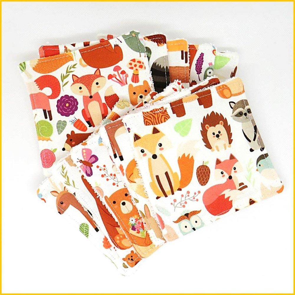 Lot de 10 lingettes lavables, lingettes bébé, démaquillantes - motif animaux de la forêt