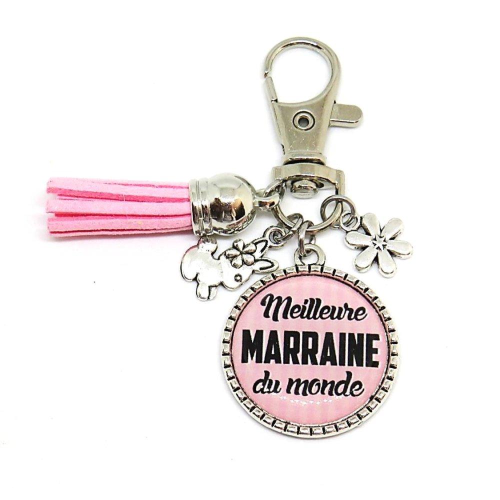 """Porte clés """"Meilleure marraine du monde"""" / cadeau, baptême, naissance, marraine"""