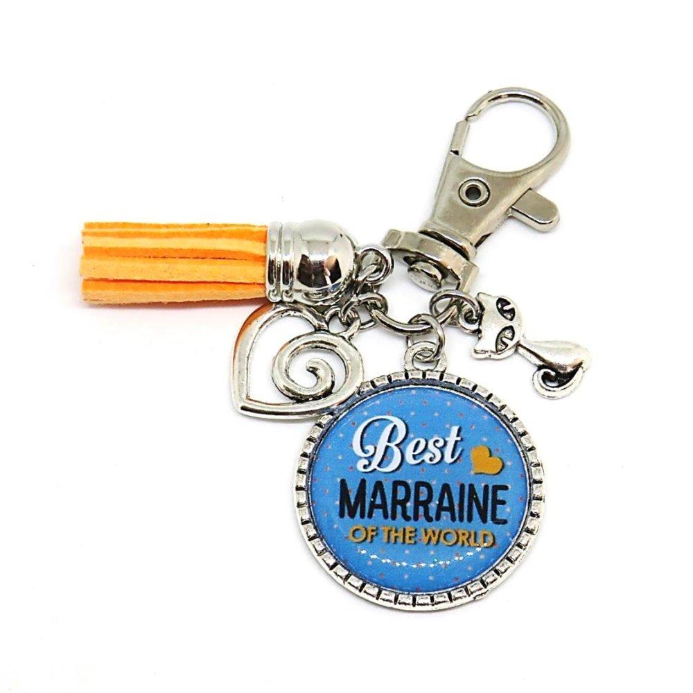 """Porte clés """"Best marraine of the world"""" / cadeau, baptême, naissance, marraine"""
