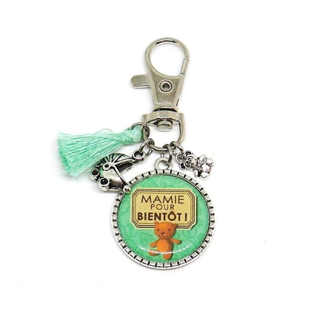 """Porte clés """"Mamie pour bientôt !"""" / annonce naissance, future mamie, mamie, grand-mère"""