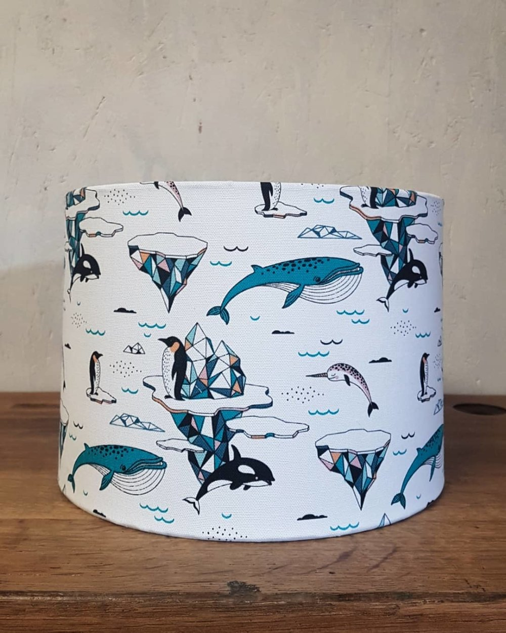 Abat-jour / suspension cylindrique diamètre 25cm tissu imprimé animaux polaires pour chambre d'enfant, bébé