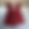 Ensemble robe rose à ramages, culotte bouffante et chapeau, cadeau naissance 6-9 mois